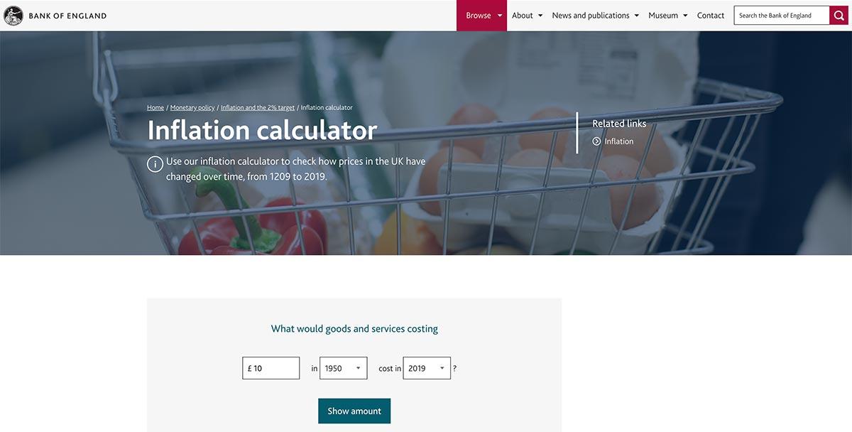 Bank of England inflation calculator