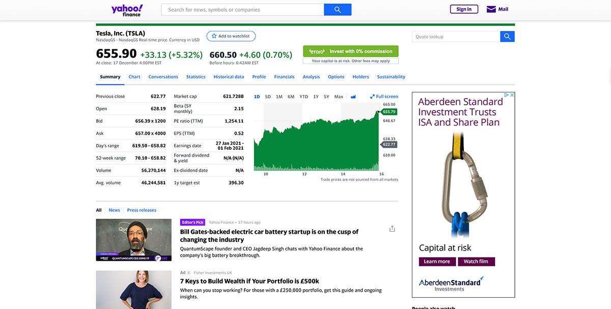 Yahoo Finance stocks website